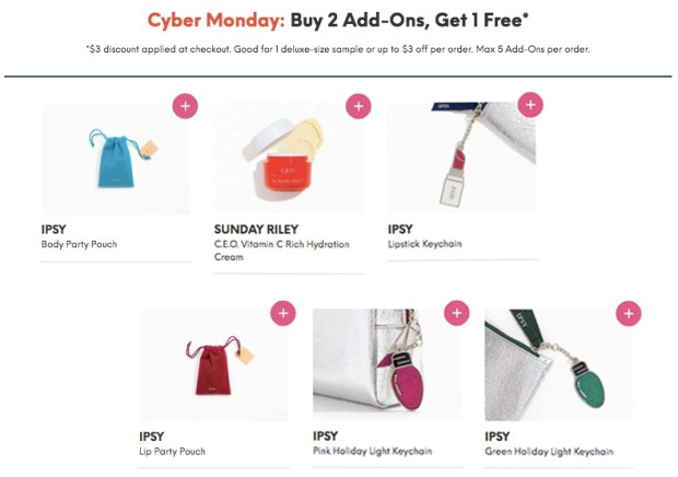 Ipsy Canada Subscribers 2019 Cyber Monday Special Buy 2 Glam Bag Add-Ons & Get 1 FREE Or Save 3 USD Canadian Beauty Subscription - Glossense