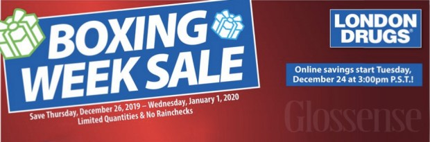 London Drugs Canada 2019 Boxing Day Sale & Boxing Week Flyer Savings Canadian Beauty Deals - Glossense