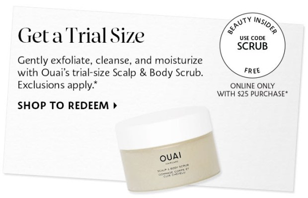 Sephora Canada Canadian Promo Code Coupon Codes Beauty Offer Free Ouai Hair Scalp Body Scrub Sample GWP Deluxe Mini Gift Purchase - Glossense