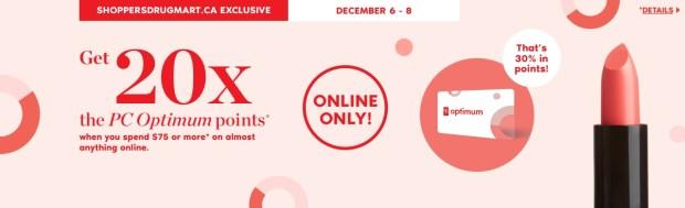 Shoppers Drug Mart Canada SDM Canadian Beauty Boutique PC Optimum Offer Bonus Beauty Get Rewarded Free PC Points December 6 8 2019 - Glossense