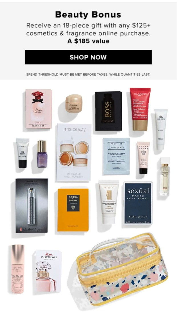 Hudson's Bay Canada The Bay HBC Beauty Week January 2020 Canadian Deals Beauty Gift with Purchase GWP Bonus Offer Samples Makeup Bag - Glossense