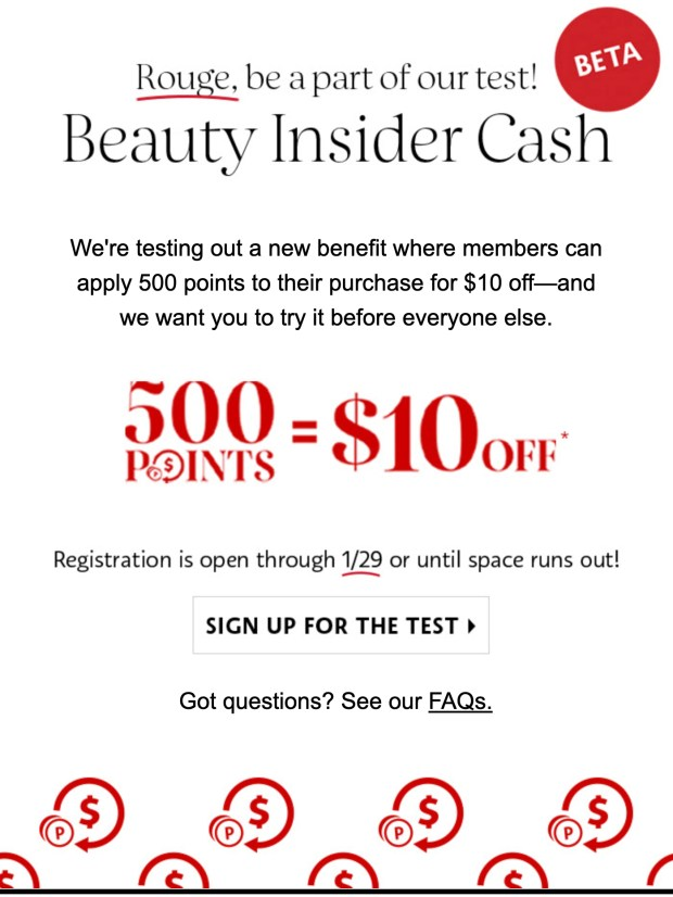 Sephora Canada 2020 Beauty Insider Cash Beta Test for Rouge Canadian Rewards 500 Points 10 Off - Glossense