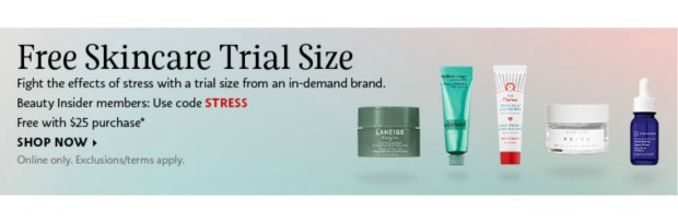 Sephora Canada Promo Code Choose 1 of 5 Free Deluxe Mini Skincare Stress Samples with Purchase Canadian GWP Beauty Offer - Glossense
