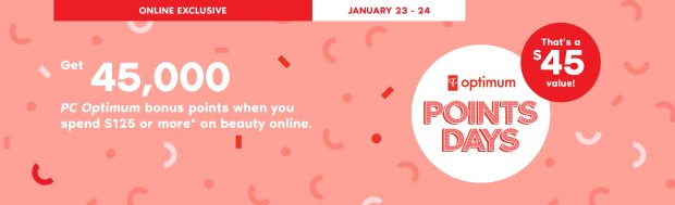 Shoppers Drug Mart Canada Beauty Boutique Canadian SDM Exclusive PC Optimum Loyalty Rewards Program PC Optimum Bonus Points Promotion Event Shop Luxury Beauty January 23 24 2020 - Glossense