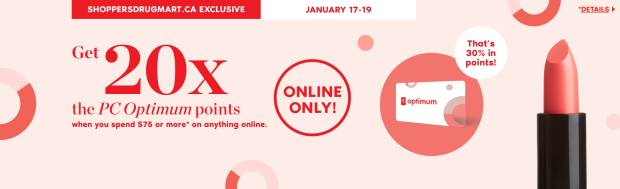 Shoppers Drug Mart Canada SDM Canadian Beauty Boutique PC Optimum Offer Bonus Beauty Get Rewarded Free PC Points January 17 19 2020 - Glossense