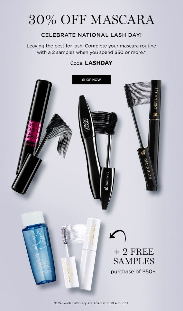 Lancome Canada National Lash Day Sale Save 30 Off Mascara 2 Free Gifts Purchase 2020 Canadian Deals Promo Code - Glossense