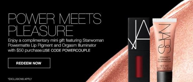 Nars Cosmetics Canada Promo Code Free 2-pc Power Couple Gift Powermatte Lip Pigment Orgasm Illuminator Canadian GWP Beauty Offers - Glossense