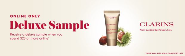 Shoppers Drug Mart SDM Beauty Boutique Canada 2020 Canadian Freebies Deals GWP Free Clarins Nutri-Lumiere Day Cream Mini Deluxe Sample - Glossense