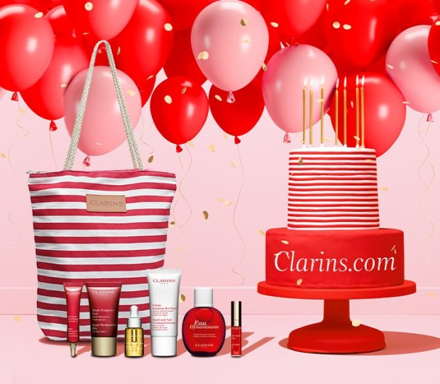 Clarins Canada Free 7-pc Gift Set with Purchase Birthday Celebrations Canadian GWP Beauty Offer Promo Code - Glossense