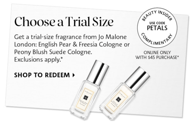 SEPHORA CANADA PROMO CODE: Free Jo Malone London Cologne Mini; A Free Floral Fragrance Sample of Choice w/ Purchase