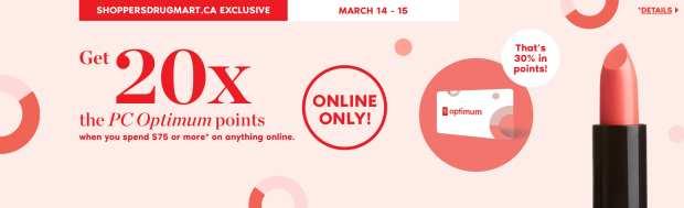 Shoppers Drug Mart Canada SDM Canadian Beauty Boutique PC Optimum Offer Bonus Beauty Get Rewarded Free PC Points March 14 15 2020 - Glossense