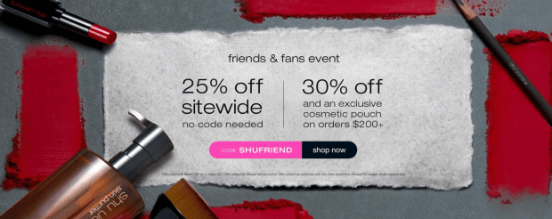 Shu Uemura Canada Friends Fans Family Sale Event Free Holographic Cosmetic Pouch 2020 Canadian Deals Promo Code GWP Offer - Glossense