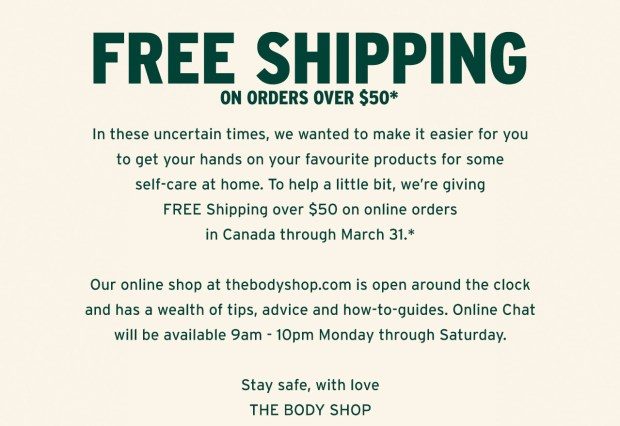 The Body Shop Free Shipping with Any 50 Order Canadian Deals in Response to Coronavirus COVID-19 - Glossense