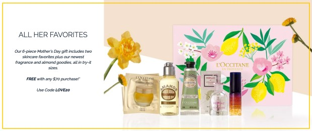 L'Occitane en Provence Canada Free Fresh Clean Gift Set with 70 Purchase 2020 Mother's Day Canadian Deals GWP Offer Promo Code - Glossense
