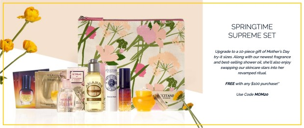 L'Occitane en Provence Canada Free Springtime Supreme Gift Set with 100 Purchase 2020 Mother's Day Canadian Deals GWP Offer Promo Code - Glossense