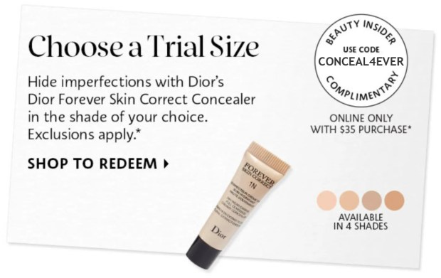 Sephora Canada Canadian Promo Coupon Code Codes Free Dior Correct Concealer 2 Deluxe Mini Sample GWP - Glossense