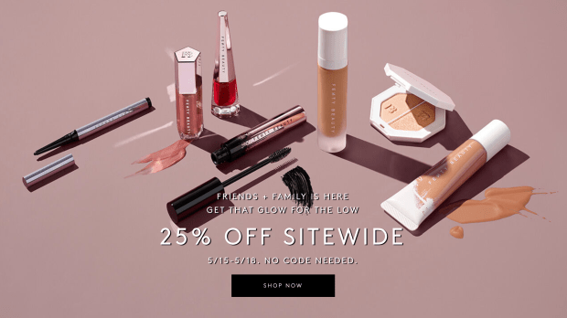 Fenty Beauty Canada Friends Family Sale Save 25 Off Sitewide 2020 Canadian Deals - Glossense