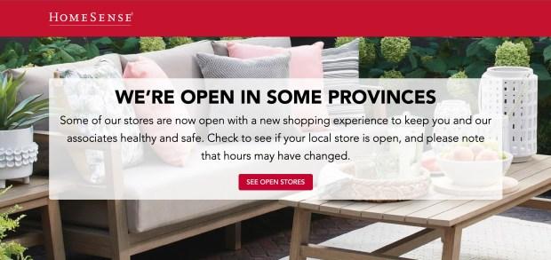 HomeSense Canada Stores Open Re-Opening Dates Update in Response to Coronavirus COVID-19 - Glossense