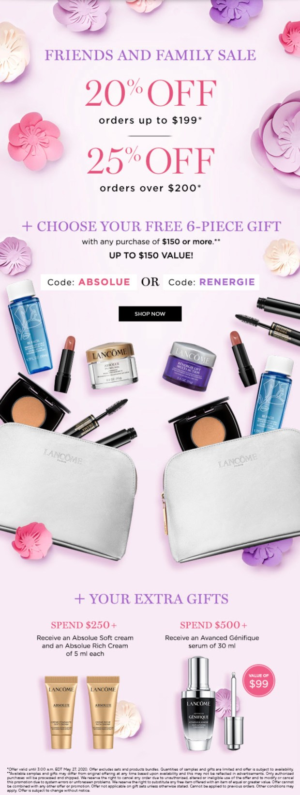 Lancome Canada Friends and Family Sale Save 20 - 25 Off Free 6-pc Gift Extra Gifts Spring 2020 Canadian Deals Promo Codes - Glossense