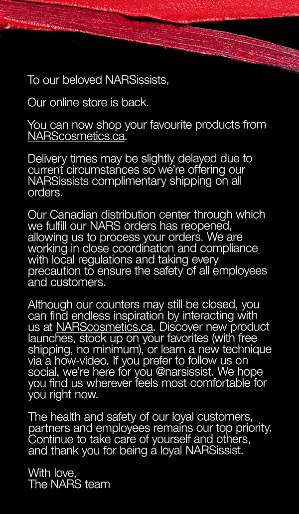Nars Cosmetics Canada Online Store is BACK Free Canadian Shipping Update in Response to Coronavirus COVID-19 - Glossense