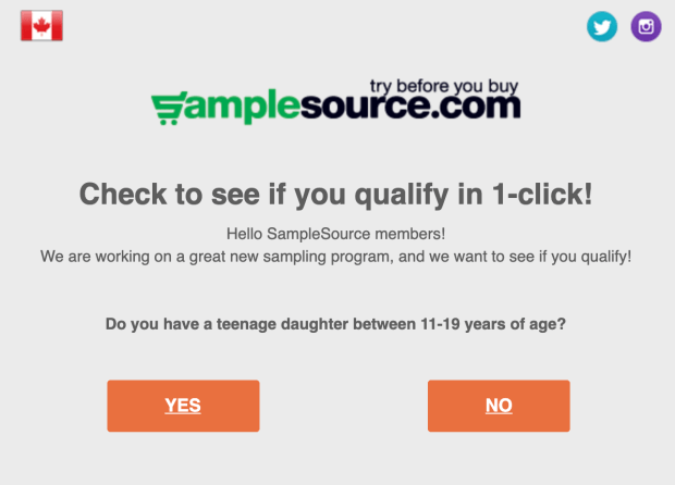 SampleSource Canada New Teenager Sampling Program Coming Soon Free Canadian Samples Coupons for Teenage Daughters Canadian Freebies - Glossense