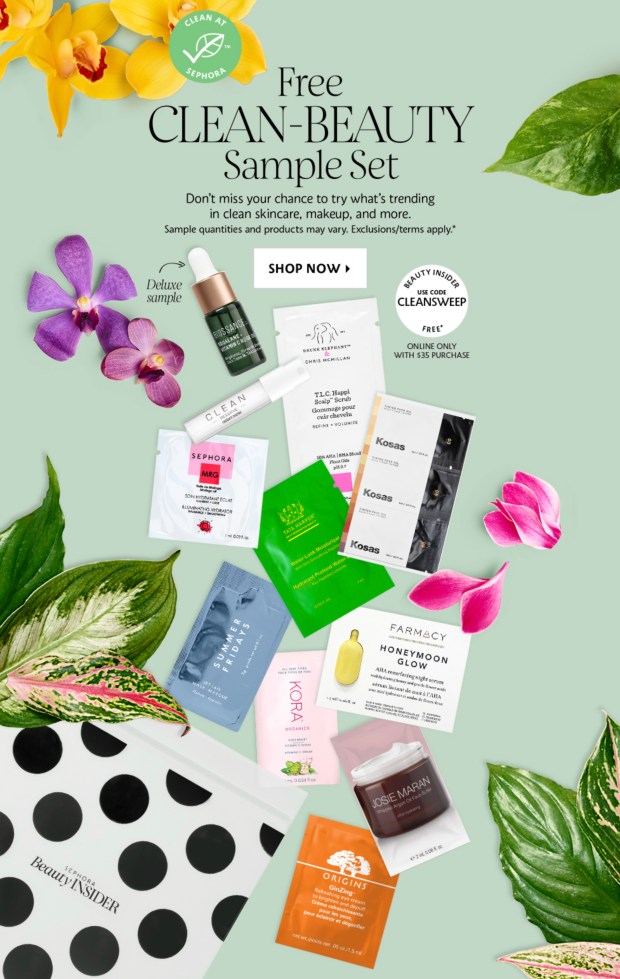 Sephora Canada Choose Your Free Clean Beauty Sample Bag with Purchase Canadian Deals GWP Offer Promo Code - Glossense