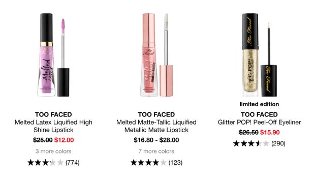 Sephora Canada Summer Sale Too Faced Liquified Lipsticks Glitter Eyeliner 2020 Canadian Deals - Glossense