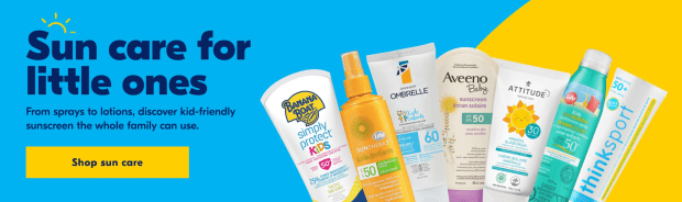 Shoppers Drug Mart Canada Save On Kid-Friendly Sunscreen Sun Care Thinkbaby Garnier Sunthera3 Ombrelle Life Brand - Glossense