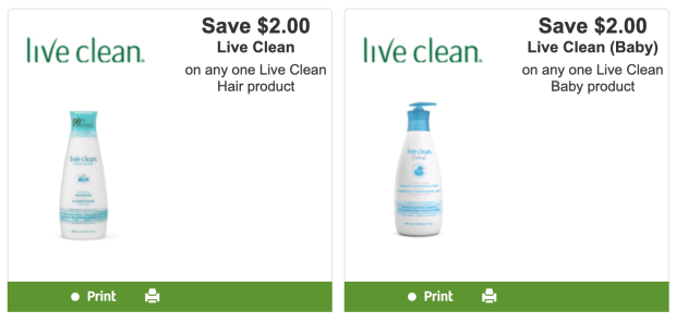 Websaver Canada Canadian Coupons Save Up to 4 Off Live Clean Hair and Baby Products Printable Coupon - Glossense