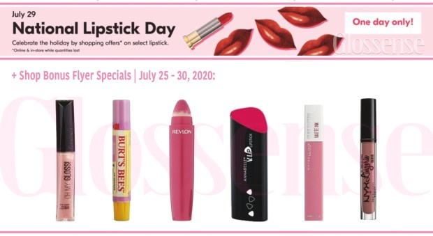 Beauty by Shoppers Drug Mart Canada National Lipstick Day One Day Only Deals Coming July 29 2020 Flyer Lip Specials Canadian Sales - Glossense