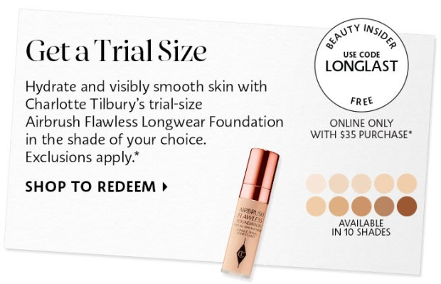 Sephora Canada Promo Code Free Charlotte Tilbury Airbrush Flawless Foundation Trial-Size Sample - Glossense
