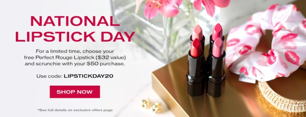 Shiseido Canada Free Perfect Rouge Lipstick Hair Scrunchie National Lipstick Day 2020 Canadian Deals Promo Code GWP Offer - Glossense