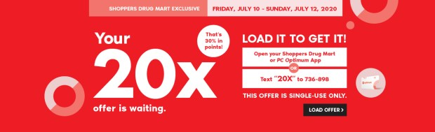 Shoppers Drug Mart Canada Shop In-Store Get 20x the PC Optimum Points July 10 - 12 2020 - Glossense