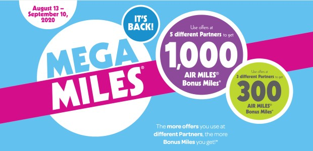 Air Miles Mega Miles Canadian Event Shop Offers Get Bonus Reward Miles August 13 - September 10 2020 Loyalty Program - Glossense