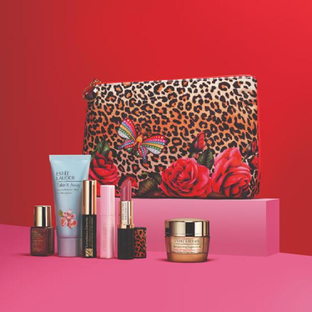 Hudson's Bay Canada Free 7-pc Estee Lauder Roses Animal Print Gemstone Gift Set Summer 2020 Canadian GWP Beauty Offers Deal - Glossense