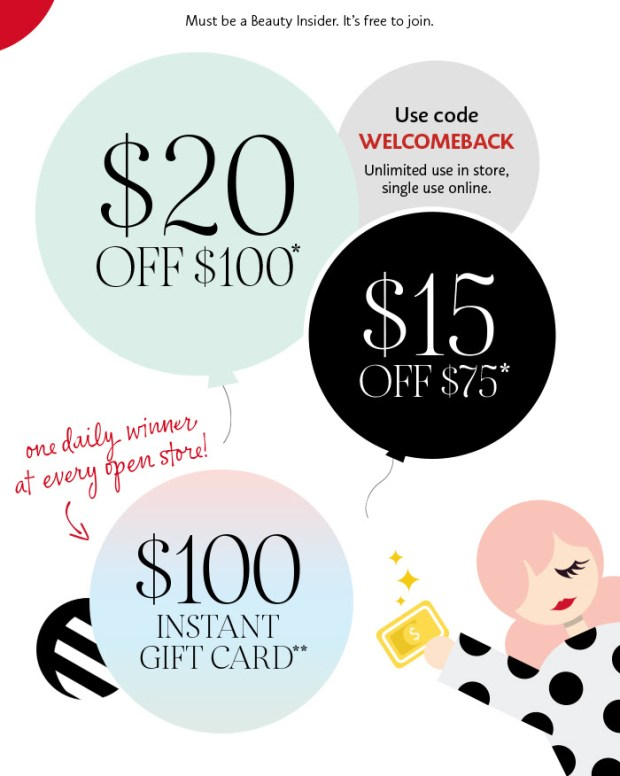 Sephora Canada Welcome Back Event Starts Today Save 15 Off 75 or 20 Off 100 Prizes Rewards Canadian Deals Promo Code - Glossense