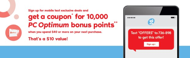 Shoppers Drug Mart Canada Spend 40 Get 10000 PC Optimum Bonus Points Mobile Text Exclusive Canadian Deals Coupons Sign-Up Offers - Glossense
