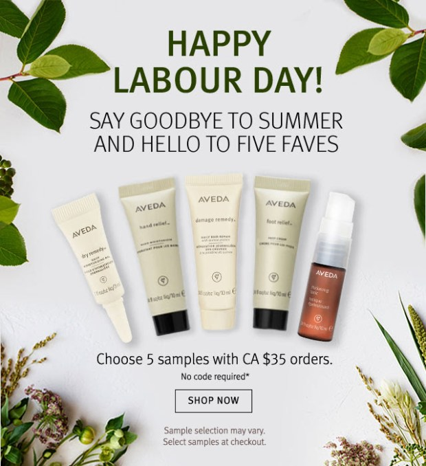 Aveda Canada Pick 5 Free Deluxe Samples Free Shipping Labour Day 2020 Canadian Deals GWP Offer - Glossense