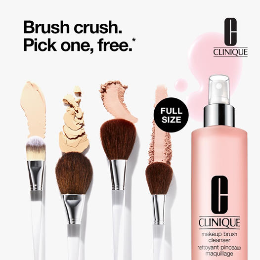 Clinique Free Makeup Brush Full-Size Cleanser Purchase Canadian GWP Offers Promo Code - Glossense
