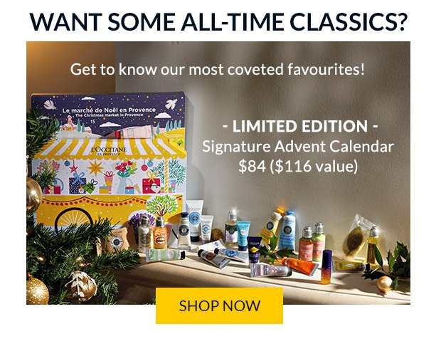 L'Occitane Canada 2020 Classic Signature Canadian Holiday Advent Calendar The Christmas Market in Provence - Glossense