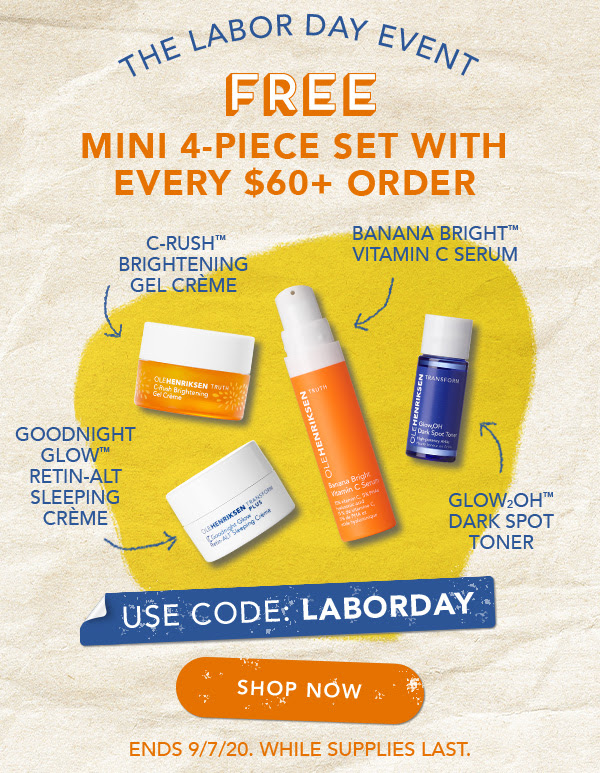 OleHenriksen Canada Free Labour Day 4-pc Mini Set Purchase 2020 Canadian Deals Promo Code - Glossense