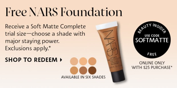 Sephora Canada Promo Code Free Nars Soft Matte Complete Foundation Trial-Size Sample Purchase - Glossense