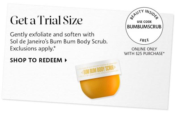 Sephora Canada Promo Code Free Sol de Janeiro Bum Bum Body Scrub Deluxe Mini Sample - Glossense