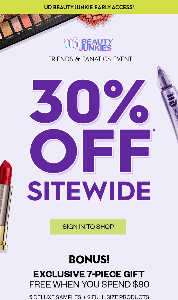 Urban Decay Cosmetics Canada Friends Fanatics Event Save 30 Off Sitewide Free 7-pc Gift 2020 Canadian Fall Deals GWP Promo Code - Glossense