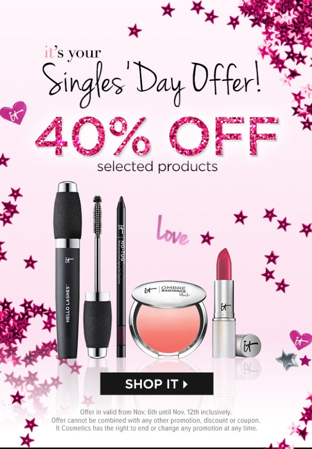IT COSMETICS CANADA Singles Day 2020 Offer Save 40 Off Select Items Canadian Deals Sale - Glossense