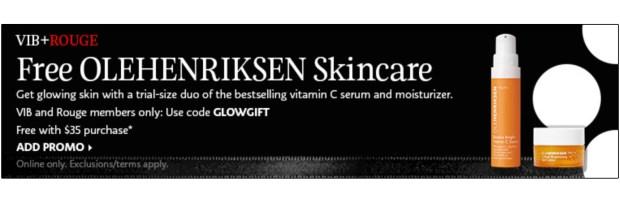 Sephora Canada Promo Code VIB Rouge November 2020 Gift Free Olehenriksen 2-pc Skincare Sample Set - Glossense.jpg