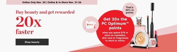 Shoppers Drug Mart Canada 20x PC Optimum Points 75 purchase Canadian Deals Nov 21 26 2020 - Glossense