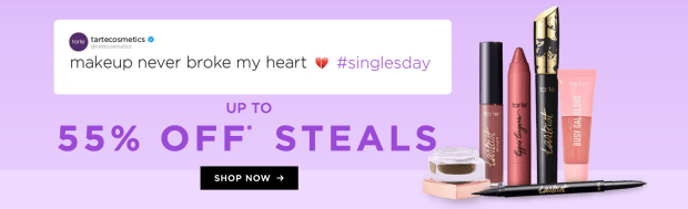 Tarte Cosmetics Canada Singles Day Sale Up to 55 Off Steals 2020 Canadian Deals Promo Code - Glossense