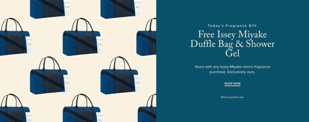 Hudson's Bay Canada Free Fragrance Gift Shop Issey Miyake Duffle Bag Shower Gel - Glossense