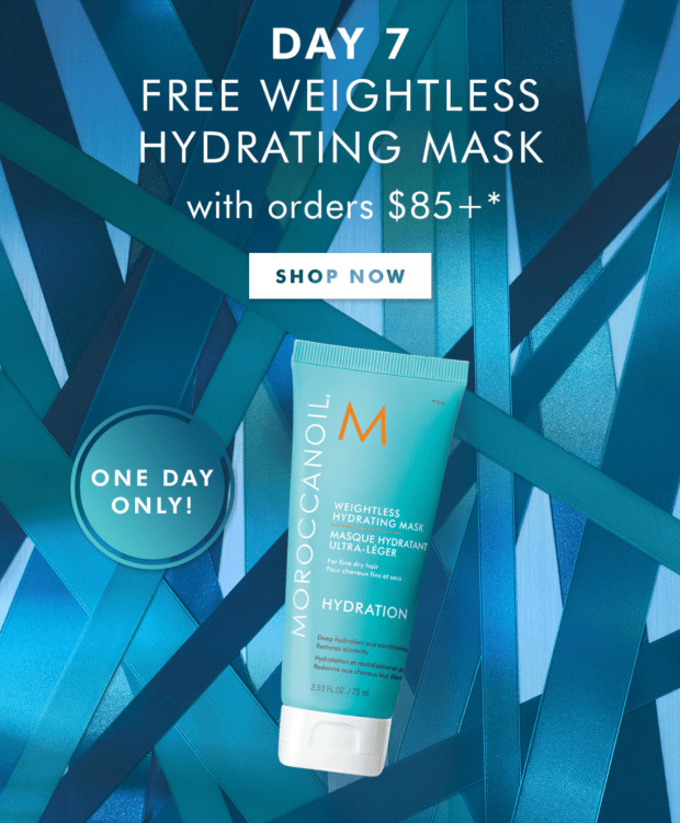 Moroccanoil Canada 12 Days of Gifting - Day 7 Free Hydrating Hair Mask 2020 Canadian Deals - Glossense